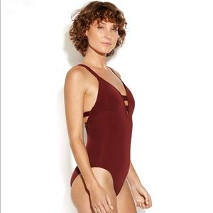 NWT Anthropologie Seafolly 10-12 Deep V Swimsuit